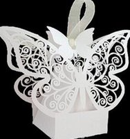 Wholesale Candy Bags For Wedding Shower - New Wedding Favor Butterfly Hollow Paper Candy Boxes Gift Bags DIY Baby Shower Boxes For Wedding Decoration Supplies