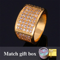 Wholesale Men Yellow Gold Wedding Ring - Men's Jewelry Simple Rings 18K Real Yellow Gold Filled Top Quality Cubic Zircon Wedding Rings Fashion Jewelry For Men MGC R318