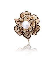 Wholesale Italina Brooch - B350607 Luxurious Elegant crystal Pearl brooches zinc alloy eco-friendly plated 18K rose gold rhodium with Austria crystal Italina jewelry