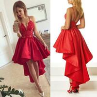 Wholesale Cheap Black Satin Robes - 2018 Hi-Lo Red Cocktail Dress Sexy Spaghetti-Strap Lace Satin Short Front Long Back Prom Dress Cheap Formal Dresses Robe De Soiree Plus Size