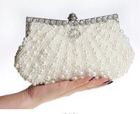 слоновая кость жемчуг сумка сцепления оптовых-красивые бисером слоновой кости свадебные сумки свадебная сумка шампанское Жемчужина в женские сумки банкетный вечер выпускного вечера клатч