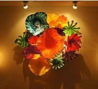 Nuevo producto Murano Flower Glass Plates Arte de la pared Home Decoration Chihuly Soplado Glass Hanging Plate Wall Art