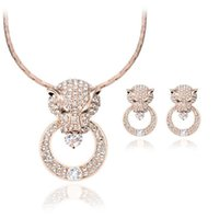 Wholesale Necklace Diamond Texture - New jewelry fashion wild round luxurious texture exaggerated leopard head full of diamond necklace earring Jewelry Sets
