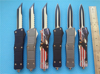 Wholesale custom hunting knives - MT Custom Combat Hellhound Tanto Knife dual action auto quot two tone A07 A161 A162 EDC tactical knives with nylon sheath