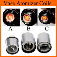 Wholesale Dry Vaporizer Atomizer Clearomizer - Dual Ceramic Wax Coil Head Dual Cotton Dry Herb Vaporizer Coils for Glass Wax Atomizer Vapor Cannon Vase Clearomizer Tanks Rich Styles FJ029