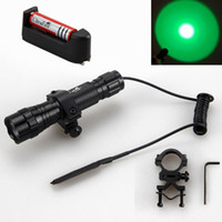 Wholesale Tactical Flashlight Remote Pressure Switch - Hunting Green Light UltraFire WF-501B 1-Mode LED Tactical Flashlight 18650 Battery Charger Torch Mount Remote Pressure Switch Free Shipping