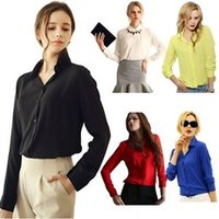 Wholesale Elegant White Blouses - Apparel Women's Clothing fashion Plus Size sexy woman Casual female Shirt Blouse Chiffon Tops Elegant OL Turn Down Solid tee cloth A1