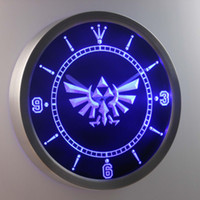 Wholesale Neon Led Wall Clock - nc0204 Legend Of Zelda Triforce LUMINOVA Neon Sign Bar Beer Decor LED Wall Clock Free Shipping Dropshipping Wholesale