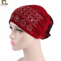 Wholesale oranges cancer - New fashion Women's velvet Flower Glitter Elastic Muslim Turban Beanie Head Wrap Chemo Cap Hat for Cancer Hijab hair Accessories