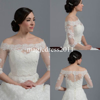 Wholesale Gold Jacket Shrug - Lace Sheer Off Shoulder 2015 Jackets Bridal Wraps Shawl Bolero Shrugs Stole Cloak Caps Half Sleeve Tulle Bridesmaid Wedding Dress Wrap FJ012