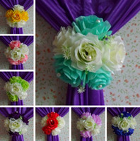 Wholesale Christmas Decorations For Cakes - Elegant Artificial Silk Rose Flowers Background Gauze Curtain Clip Bouquets For Wedding Backdrop Decoration Accessories Supplies