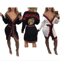 Wholesale open stitch sweater - Sexy tiger printing Cardigan Women fashion Patchwork Adjustable Waist Long Sleeve Streetwear Outerwear Coats Jackets sweater dresses tops