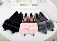 Wholesale Pink Rubber Like - Sell like hot cakes--women spring and autumn rabbit hair pointed flat shoes , beautiful bowknot large size women shoes