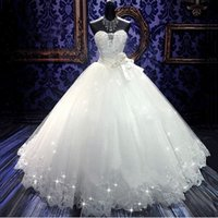 Ball Gowns for sale - 2017 High Quality Real Photoes Bling Bling Crystal Wedding Dresses Back Bandage Tulle Appliques Floor-Length Ball Gown Wedding Gowns