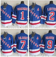 Wholesale Brian Leetch Jersey - New York Rangers 1 Eddie Giacomin 2 Brian Leetch 7 Batang Gilbert 9 Adam Graves home blue Ice Hockey Jersey size Small S-4xl 58