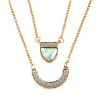 Wholesale Wholesale Custom Acrylic Necklaces - Statement Necklaces Custom Jewelry Free Shipping Wholesale Price  Vintage Crystal Pendant Double Layer Necklace