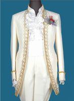 Wholesale designers white groom wedding suits - High Quality Stand Colar Groom Tuxedos Bridegroom Wedding Suit For Men Designers Prom Suit Boyfriend Blazer (Jacket+Pants+tie+Girdle) 349