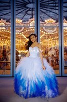 Wholesale Ombre Sweetheart Dress - 2015 Exquisite Quinceanera Dresses Ombre White Blue Ball Gown Sweetheart Ruffled Organza Sequins Lace Up Vestidos De Fiesta Sweet 16 Dresses