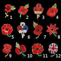 Wholesale Cheap Wholesale Rhinestone Brooches - Brooch for Women 12PCS LOT Cheap Wholesale Lot Very Beautiful Sparkle Red Crystal Rhinestone Poppy Brooch Pins Christmas Brooches