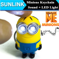 Wholesale Despicable Talking - 2015 New Arrive Despicable Me 3 Minions LED Keychain Talk Minions Press Button Say I Love You Gift for Lovers Christmas Gift