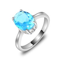 Wholesale 1lot Pc - Luckyshine 6 PCS 1LOT Dazzling Fire Oval Sky Blue Topaz Gems 925 Sterling Silver Rings Weddiing Family Friend Holiday Gift Rings