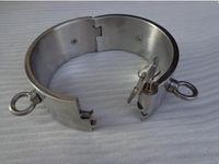bdsm kilitleme çelik yaka toptan satış-BDSM FATORY ile 5 CM yüksek Çelik Köle Yaka Tasması 4 yüzükler Boyun Bondage Yaka ile Kilit