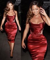 Wholesale Halter Cocktail Satin Sheath - 2018 Stylish Tea Length Women Formal Cocktail Dresses Burgundy Slik Like Satin Halter Silm Corset Party Dress Gown