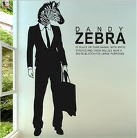 Wholesale large decorative wall posters for sale - Group buy Creative PVC Zebra Wall Sticker Art Living Room Animal Poster Nest Decorative Wall Decals Home Zebra English Quote Wallpaper