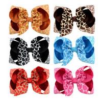 Wholesale Leopard Bow Hair Clip - Kids Bows hairpins 4 Inches children leopard grain printed Bows barrettes children grosgrain cloth BB clip girls princess hair clip R0757