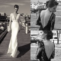 Wholesale Mermaid Style Long Dresses - 2016 Sexy Long Sleeves Bridal Gowns V-Neck Backless Mermaid Lace Wedding Dresses Ruffles Vintage Arabic Wedding Party Gowns Aso Ebi Style
