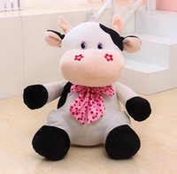Wholesale Stuffed Toy Cows - New happy milk cow cattle cute creative plush doll pillow stuffed toy children girl prize gift