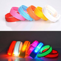 Wholesale Flashing Led Armbands - Nylon Band LED Flashing Arm Band Wrist 28-30cm Strap Armband light for Outdoor Sports Safety Activity Party Club Cheer Night Light