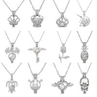 Wholesale Diy Pearl Jewelry Charms - 2018 HOT Oyster pearl Pendant Necklaces Unicorn Cages Locket Hollow Out Love Wish Pearl Necklace Fish Heart Mermaid Crown Skull DIY jewelry
