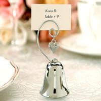 encantos de cromo al por mayor-Regalo de boda caliente encantador cromo Bell Place tarjeta / Photo Holder con encanto del corazón que cuelga envío gratis