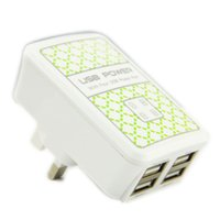 Wholesale Bank Branding - USB 4 Port Wall Power Charger AC Adapter UK EU US Plug For Samsung for Phone ipad iphone white