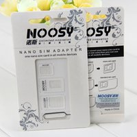 Wholesale S3 Mini Sim - Wholesale-Brand New Noosy 4 IN 1 Micro Mini Sim card adapter for iphone 4 4S for iphone5 5s adapter for samsung Galaxy S3 100sets lot