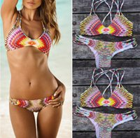 Bikinis padded string bikini - 2015 New Swimwear Women Sexy D Printed Floral Bohemian Bikini Set Halter Strings Pads Triangle Bottom Swimsuit Brazilian