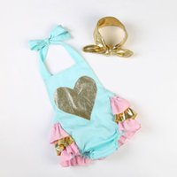 Wholesale White Sleeveless Onesies - Retail infantil baby One-piece love onesies Summer style Newborn Baby ruffles Cotton valentines day Romper 0-4T 9269
