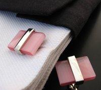 Wholesale Cuff Link Pink - Pink Opal Cufflink Wedding Cufflinks Personalized Men Cuff Links Luxury cf612
