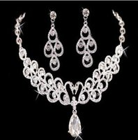Wholesale Cheap American Diamond Necklace - Big Discount 2016 New necklace and earring set Rhinestones Diamond Designer Evening Bangles Bridal Accessory Jewelry Cheap