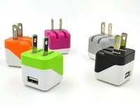 Wholesale Mini Folding Wall - Foldable USB Wall Charger Home Travel Adapter 5V 1A US EU Dual Color mini Folding Portable charger for iphone 6 Samsung-500