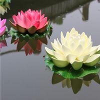 Wholesale orange lotus flower water resale online - Diameter of CM Simulation Artificial Silk Lotus Flower Floating Water Flowers For New Year Home Wedding Decoration Supplies