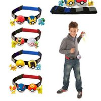 2 Pcs Poke ball +2 Pcs Anime PVC Random Master para Colecção Play Game Poke Pikachu Clip N Carry Kids Poke Ball Belt Pretend