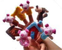 Wholesale Play Pig - Fairy Tale The Three Little Pigs Finger Puppets Kids Baby Cute Play Storytime Velvet Plush Toys (Assorted Animals