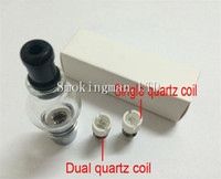 Wholesale Dual Core Clearomizer - Quartz dual wax Coil e-cigarette wax Coil glass globe atomizer ceramic Core ceramic Wax coil head clearomizer VS Cannon Bowling skillet tank