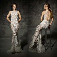 Wholesale Top Selling Mermaid Wedding Dresses - 2016 Full Lace Wedding Dresses Jewel Neck Sleeveless Mermaid Wedding Gowns Sweep Train Yolancris Spring Top Selling Illusion Bridal Dress
