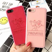 Wholesale Panther Cover - PU Leather Cartoon Panther Cases For iPhone 7 6 6s Plus Soft Pink Panther Hard Shell Cover for iPhone 7 7Plus Cqoue Fundas