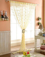 Wholesale Sheer Curtains Tassels - Wedding backdrop curtain love heart tassel Screens Room Dividers Rod Pocket door sheer Curtain new party decoration props Home Textiles gift