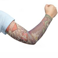 Wholesale Tattoo Fake Gloves - Wholesale-Seven Styles Punk Men Tamporary UV Skull Theme Fake Tattoo Sleeves 2015 New Fashion Arm Warmers For Men Free Shipping