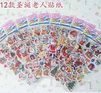 Wholesale 3d Stickers Tree - 2015 Christmas 3D Cartoon Sticker Santa Claus Wall Stickers Christmas Tree Snowman gift Paster Kindergarten Reward